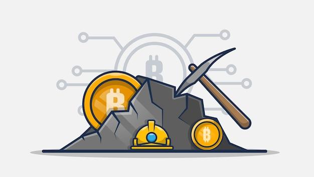 Bergbau-bitcoin-karikaturillustration