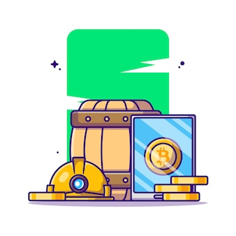 Bergbau bitcoin mit telefon cartoon illustration
