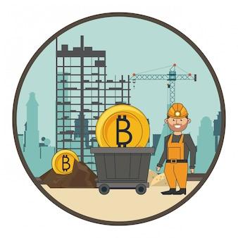 Bergbau bitcoin und arbeiter mit schaufel und wagen
