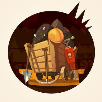 Bergbau cartoon illustration