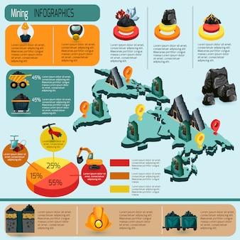 Bergbau-infografiken-set