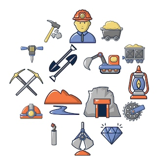 Bergbau mineralien business icon set, cartoon-stil