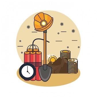 Bergbau und werkzeuge