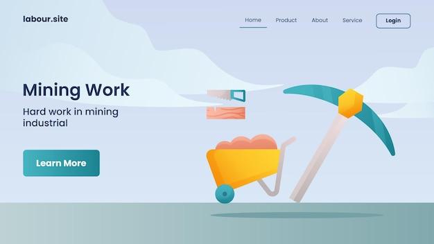 Bergbauarbeitskampagne für die startseite der website-startseitenvorlage