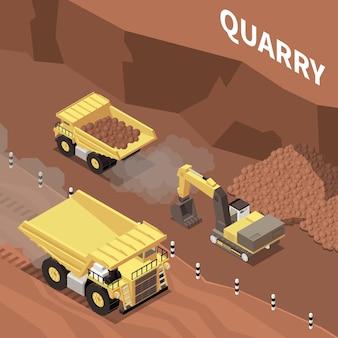 Bergbaumaschinen, die in isometrischer illustration des steinbruchs 3d arbeiten