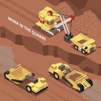 Bergbaumaschinen graben und entfernen felsen aus dem steinbruch isometrische 3d-darstellung