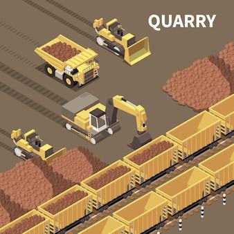 Bergbaumaschinen mit lastwagen und baggern, die felsen 3d-illustration laden