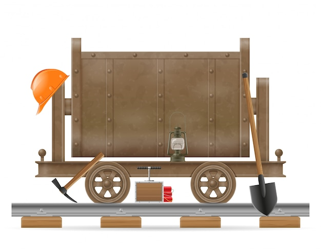 Bergbauwagenwagen-vektorillustration