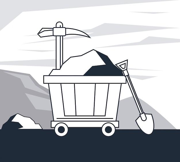 Bergbauzone und werkzeuge