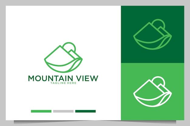 Bergblick mit logo-design im linienkunststil