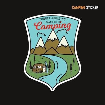 Bergcamping-aufkleber-design. reisen sie handgezeichnetes emblem.
