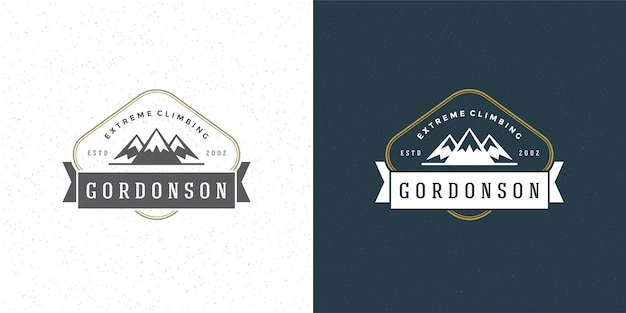 Bergcamping-logo im freien landschaft rock hills silhouette für hemd oder druckstempel
