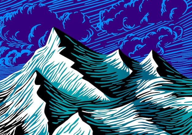 Berge abbildung. farblinie stil zeichnung