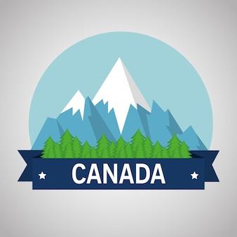 Berge mit kanadischer schneeszene