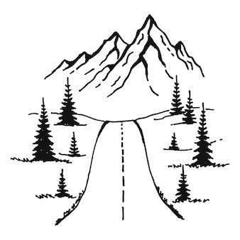 Berge straße. landschaft schwarz auf weißem hintergrund. handgezeichnete felsige gipfel im skizzenstil. vektor-illustration.