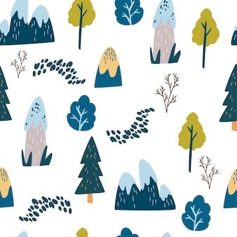 Berge und bäume nahtlose muster. landschaftshintergrund. hand zeichnen hügel, bäume, felder, wege und büsche. vektorhintergrund für stoff, textil, bekleidung, tapete.