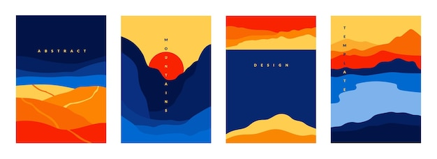 Berge und meer-poster. abstrakte geometrische landschaftsbanner mit minimalistischen formen und geschwungenen linien. vektorgeometrieszenen mit bergen hügeln meer für traditionelles asiatisches hintergrunddesign