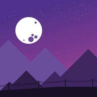 Berge und nachtmond design, landschaft naturumgebung und outdoor-thema