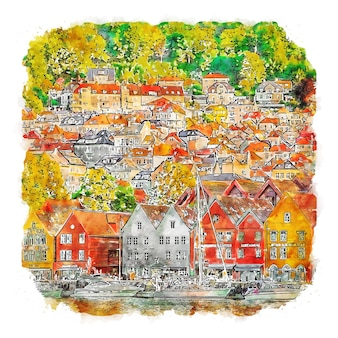Bergen norwegen aquarellskizze handgezeichnete illustration