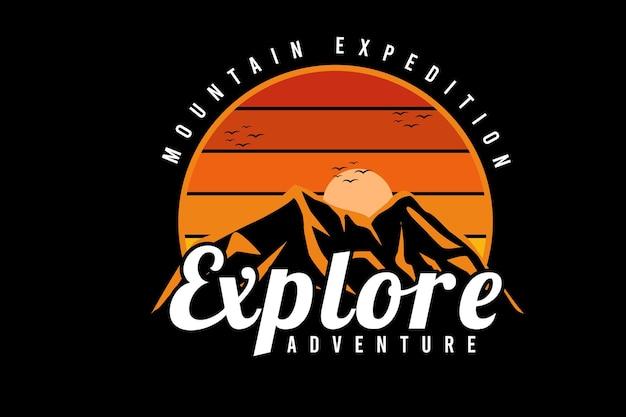 Bergexpedition erkunden abenteuerfarbe orange und gelb
