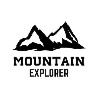 Bergforscher. emblem-vorlage mit berggipfel. gestaltungselement für logo, label, emblem, zeichen.