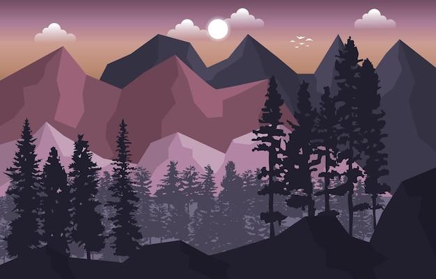 Berggipfel kiefer tannen natur landschaft abenteuer illustration