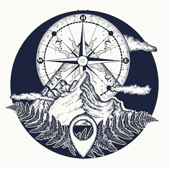 Berggipfel und kompass tattoo