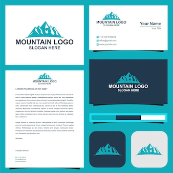 Berggipfel und visitenkarten-premium