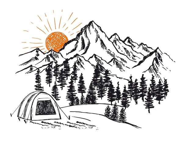 Berglandschaft illustration skizzenstil