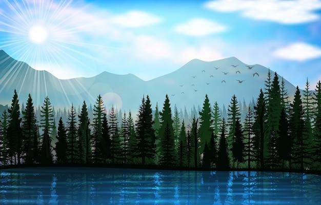 Berglandschaft mit seehintergrund