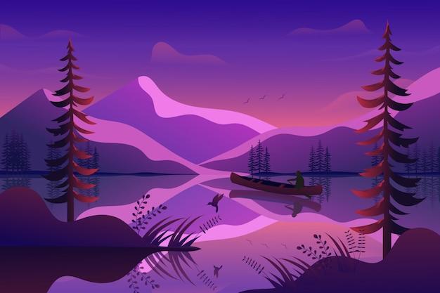 Berglandschaft mit sonnenunterganghimmel- und -seehintergrundillustration