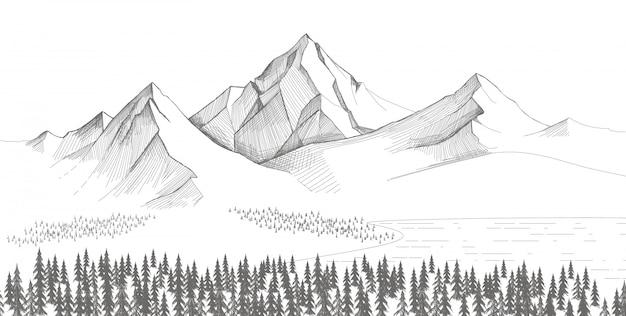Berglandschaft, waldkiefernskizze. hand gezeichnete illustration.