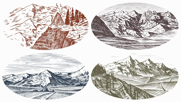 Berglandschaftshintergründe eingestellt