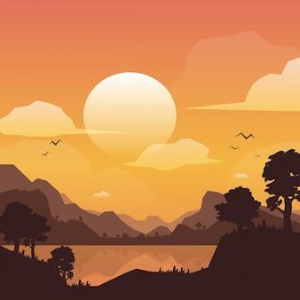 Berglandschaftshintergrund bei sonnenuntergang, vektorillustration