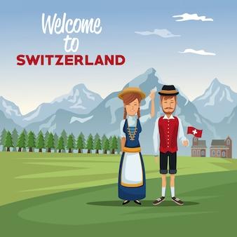 Berglandschaftstalplakat mit traditionellen leuten mit textwillkommen in der schweiz