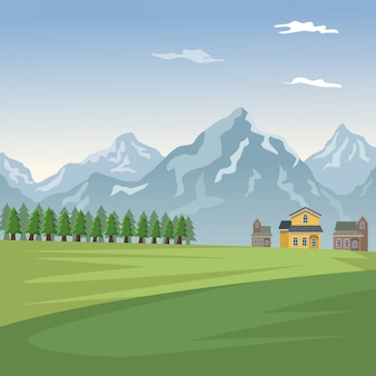 Berglandschaftstalplakat mit wald- und fassadenhäusern