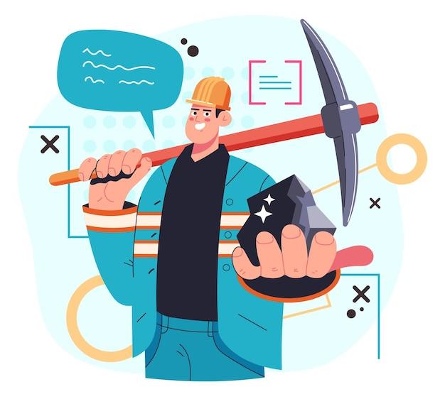Bergmann-arbeiter-mann-charakter, der den frieden von kohle in der hand hält