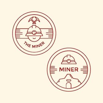Bergmann mit professioneller mine helm monoline emblem, abzeichen oder insignien