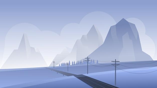 Bergnachtlandschaftsvektorillustration, karikatur flache nachtpanoramaperspektive bergige landschaft mit leerer asphaltstraße, felsigen bergen, nebliger natur