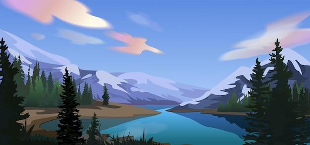 Bergsee mit regenbogenwolkenlandschaft
