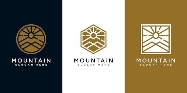 Bergset mit sonnenlicht-logo-design