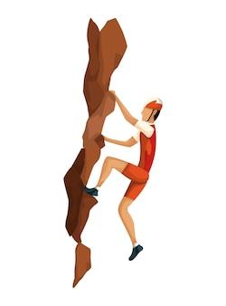 Bergsteigen. männer klettern mit professioneller ausrüstung auf einen felsberg. bouldersport. spielszene lokalisiert auf weißem hintergrund.