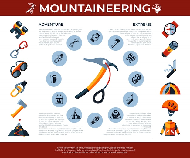 Bergsteigen-technologieikonen eingestellt
