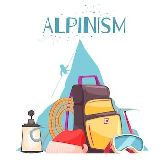 Bergsteigenausrüstungs-karikaturzusammensetzung mit alpiner bergsteigergangseil-eisaxt-rucksacksonnenbrille