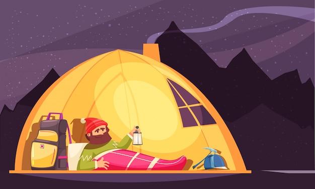 Bergsteigenkarikatur mit dem alpinisten im schlafsack, der laterne im zelt nachts hält