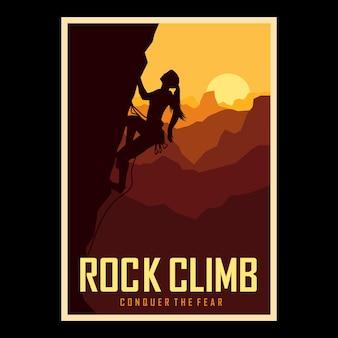 Bergsteiger-mädchen im sonnenuntergang