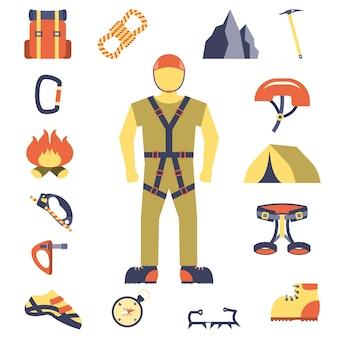 Bergsteigerausrüstung-ikonen flach