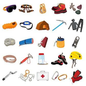 Bergsteigerausrüstung symbole festgelegt. karikatursatz bergsteigenausrüstungsikonen