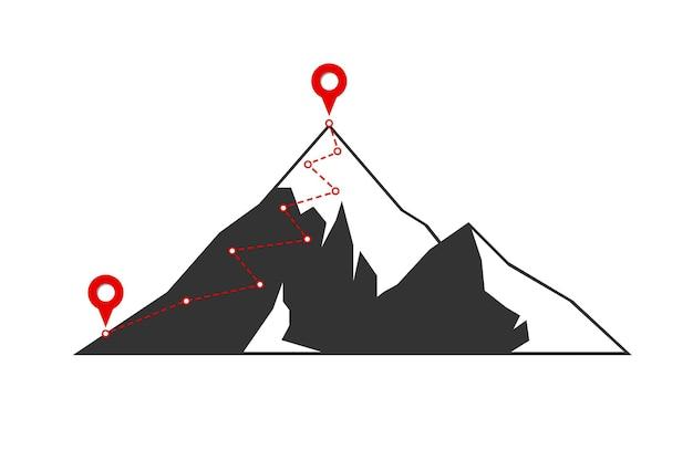 Bergsteigerroute zum gipfel mit roter flagge auf dem obersten felsen. geschäftsreisepfad im gange motivation und erfolgsziel aspirationskonzept. symbolillustration für die zielrichtung der karrieremission