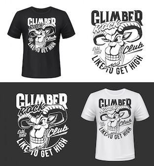Bergziege t-shirt druck oder tätowierung, vektor steinbock